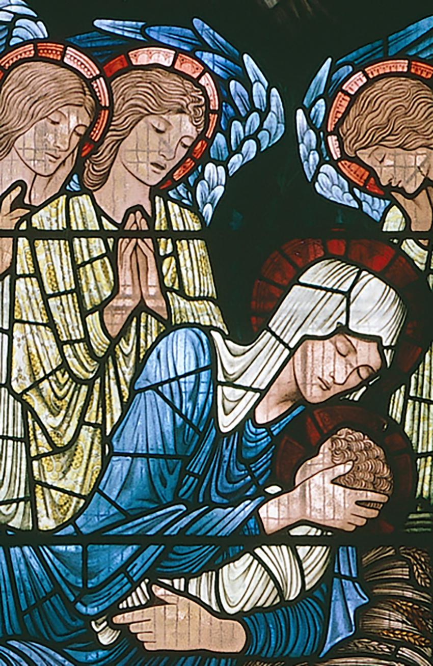 Manylyn o'r ffenestr, yn dangos y Forwyn Fair, y baban Iesu ac angylion. DI2005_0594, NPRN 310514