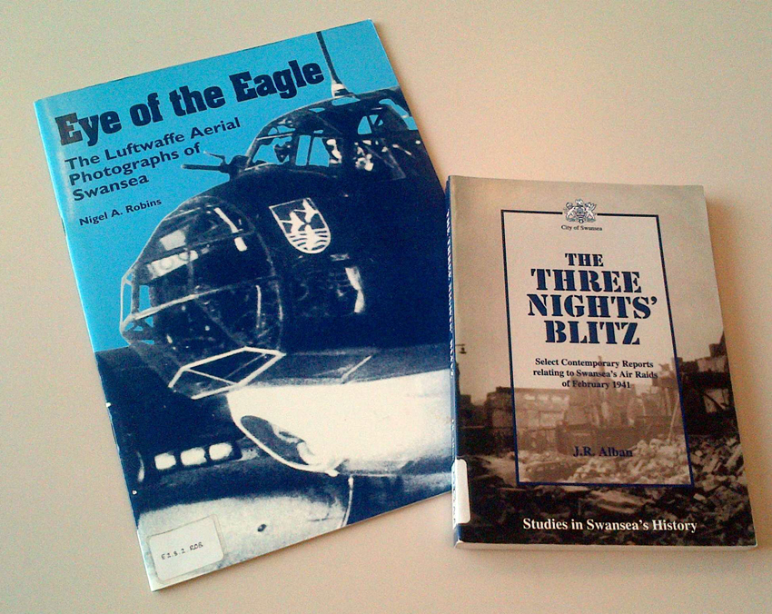 The Three Nights Blitz by J.R. Alban and Eye of the Eagle by Nigel A. Robbins copies held by the Royal Commission's library