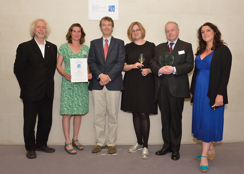 The Winners! The Royal Commission and David Gwyn with award presenters Julian Richards (far left) and Bettany Hughes (far right).