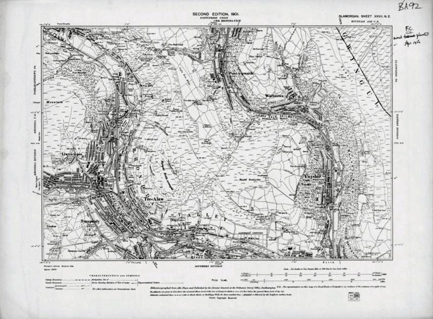 """Map Arolwg Ordnans 6"""", ail argraffiad, dalen Sir Forgannwg XXVII NE (1901), Cwm Rhondda. DI2010_1140"""