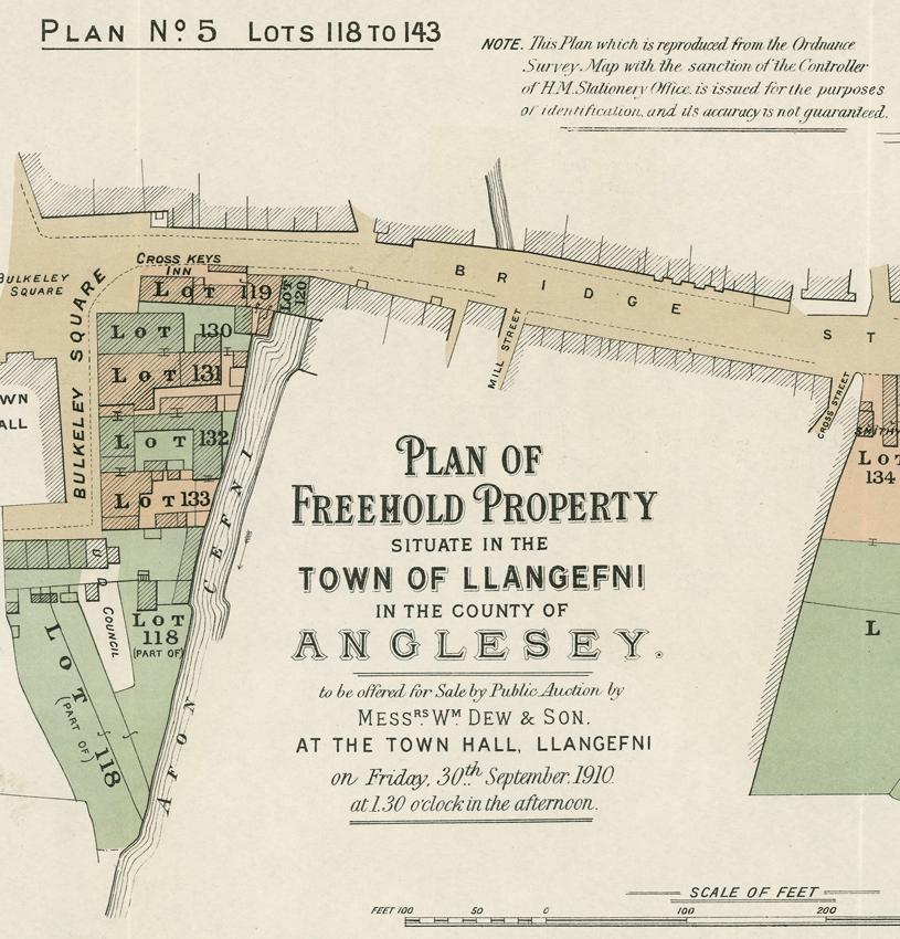 Ystad Baron Hill, Ynys Môn: map ystad o gatalog gwerthiant. C19734