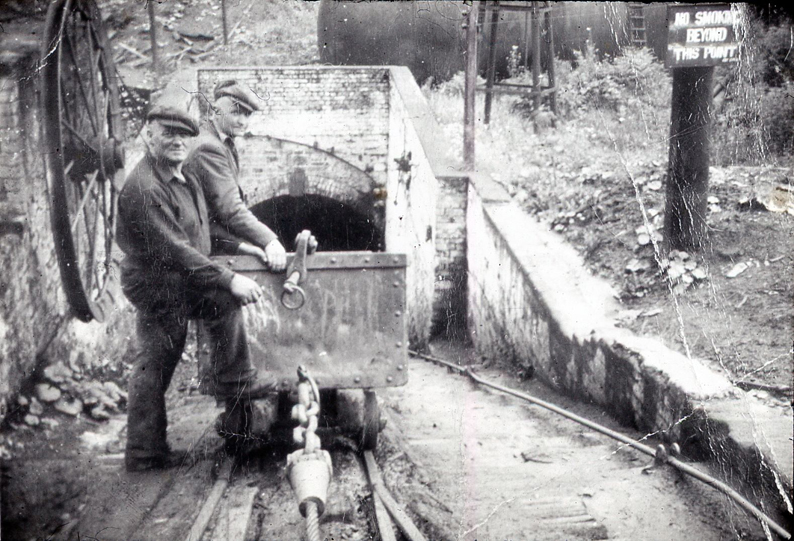Digital photograph showing Stan Williams and Fred Roberts with wagon at Great Mountain colliery, Tumble, taken 1953, ref: VDE_04_02_215, C608954