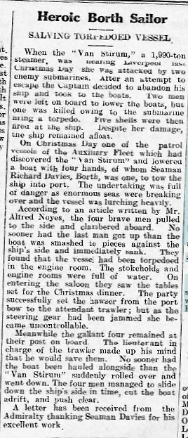 Extract from the Cambrian News, 22 September 2016, regarding the loss of the VAN STIRUM