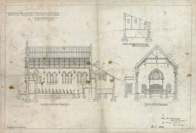 Measured section drawings of Williams Pantycelyn Chapel, dated 1886, ref: DD2015_019_03, C608199