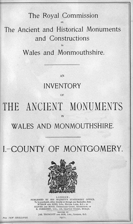 Tudalen deitl y Rhestr gyntaf: The County of Montgomery (1911) sydd bellach ar gael fel e-lyfr di-dâl.