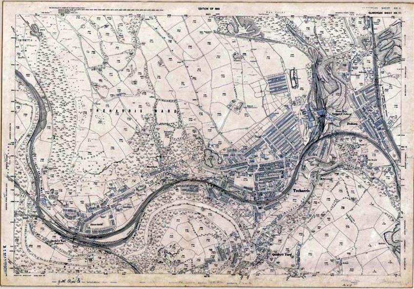 Ardal Treharris ym 1919. Map ordnans 25'', ail argraffiad. DI2012_0326