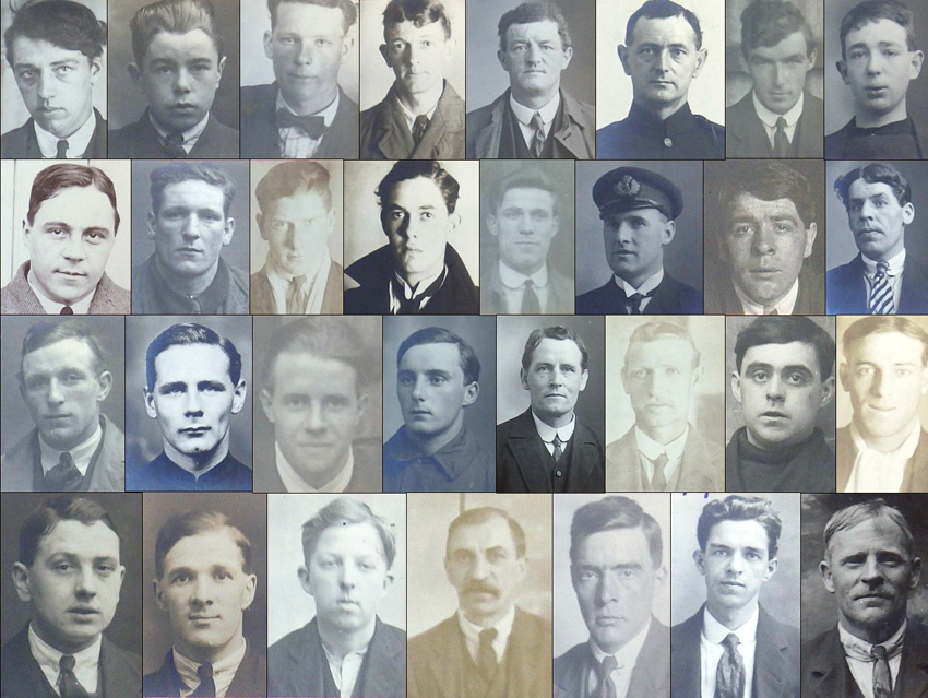 montage of small passport sized photographs of ship's crew