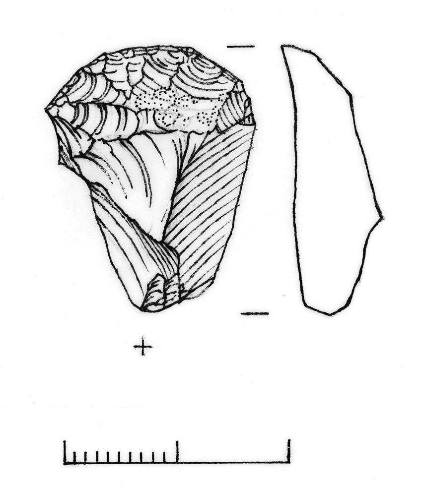 Flint scraper, Find 19 Skomer Island Hut Group 8, 2014 C.620868 DI2015_0014 NPRN: 420196