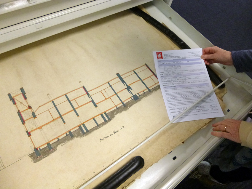 Long section of Plas Gwynfryn, now safely preserved in the Royal Commission's public archive.