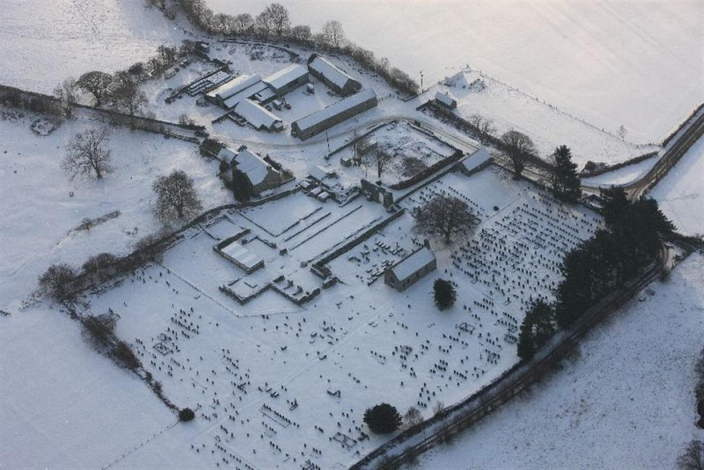 Royal Commission aerial photograph of Strata Florida Abbey under snow in 2010. NPRN: 95764