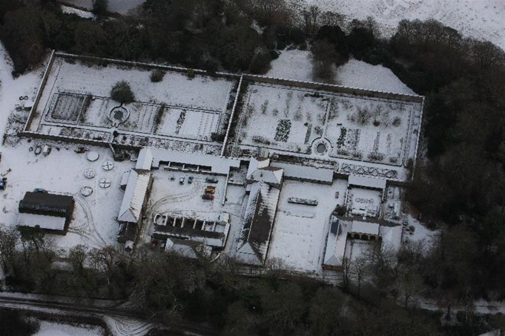 Royal Commission aerial photograph of Llanerchaeron under snow in 2010. NPRN: 302 081