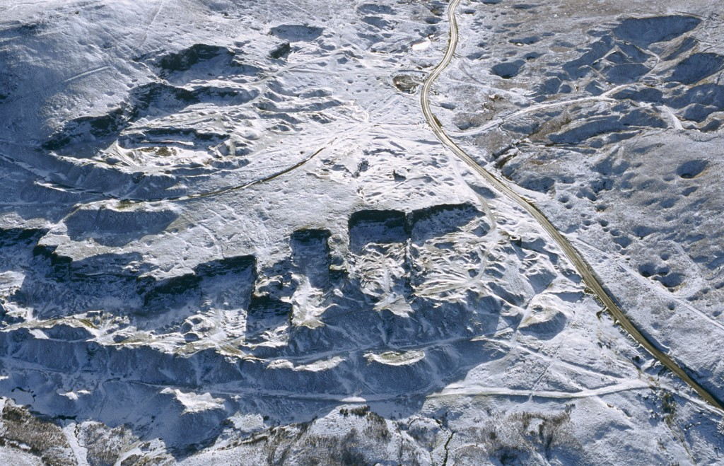 Royal Commission aerial photograph of Foel Fawr quarry complex under snow, view from the north in 2003. NPRN: 91982