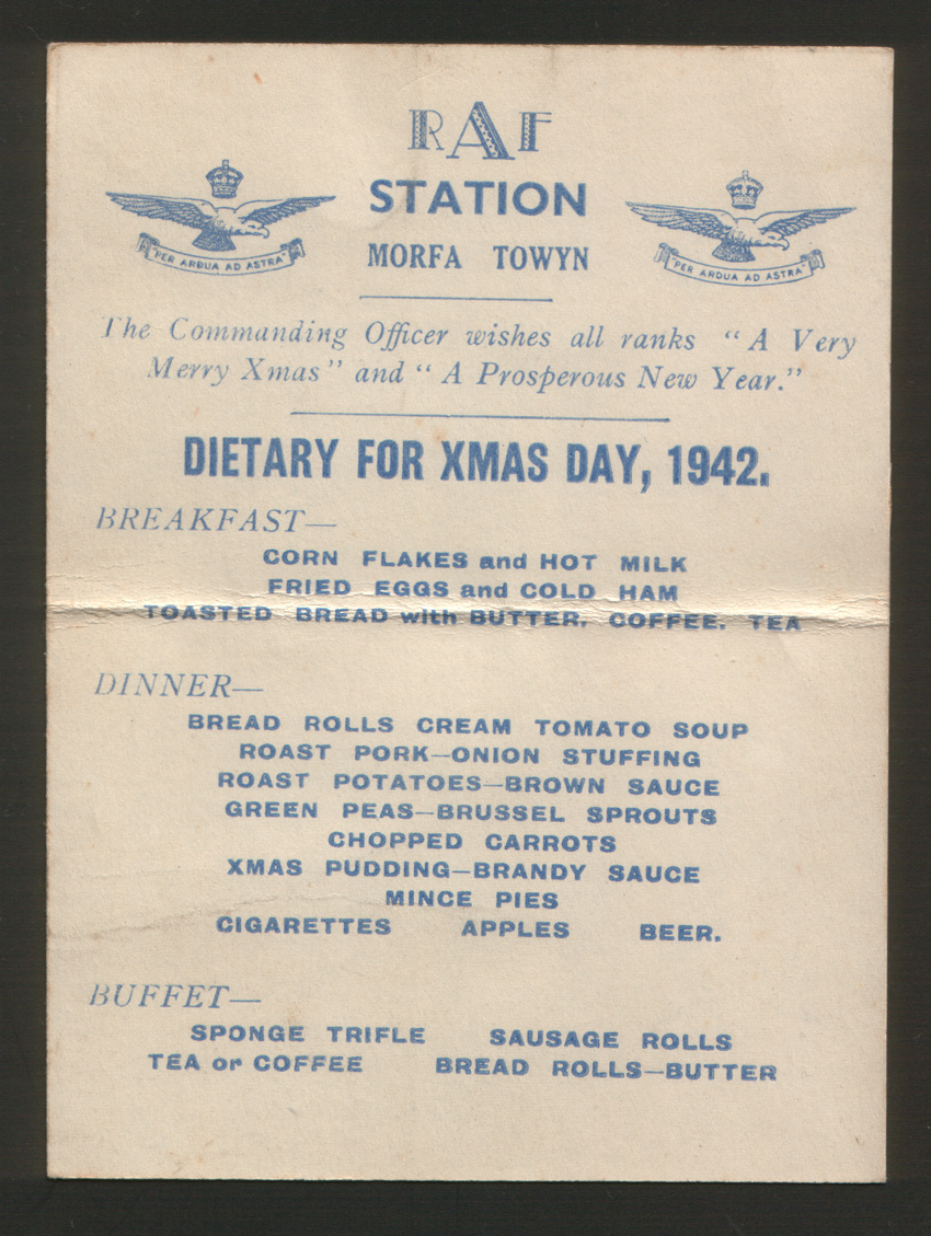 1942 Christmas Day Menu from RAF Station Morfa, Towyn