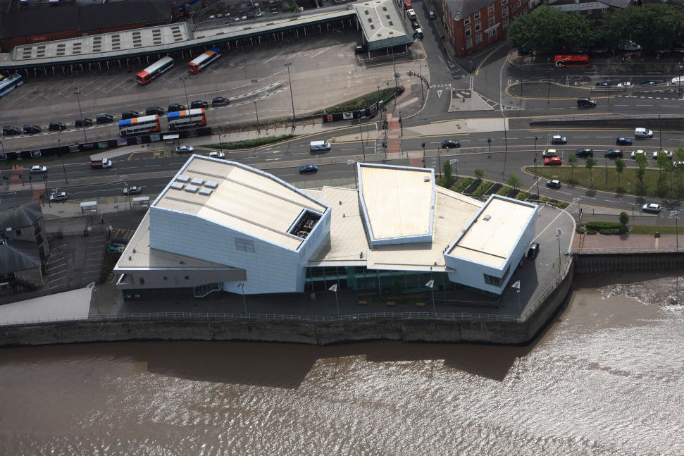 Aerial photograph of the Riverfront Arts Centre, Newport, 2011