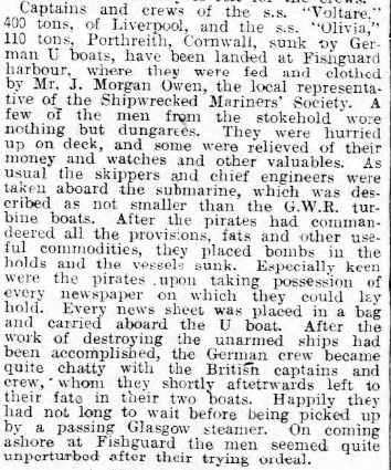 Haverfordwest and Milford Haven Telegraph 21 Feb 1917 - FRIENDSHIP, VOLTAIRE, OLIVIA