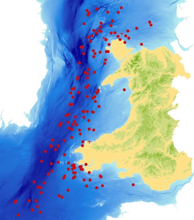 The red dots show the losses of ships and aircraft around the Welsh coast during the First World War.