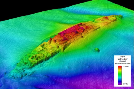 Multi beam image from Wessex Archaeology survey of the HMHS Anglia for English Heritage, 2014