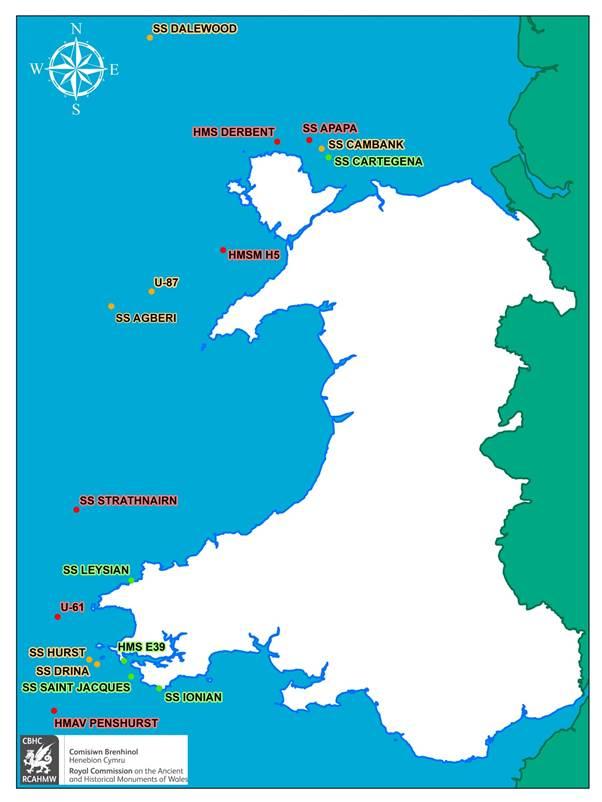 Map yn dangos y llongddrylliadau o'r Rhyfel Byd cyntaf a gaiff eu harolygu fel rhan o'r prosiect Coffáu'r Rhyfel Anghofiedig yn erbyn Llongau Tanfor yr Almaen ar hyd Arfordir Cymru: 1914-18