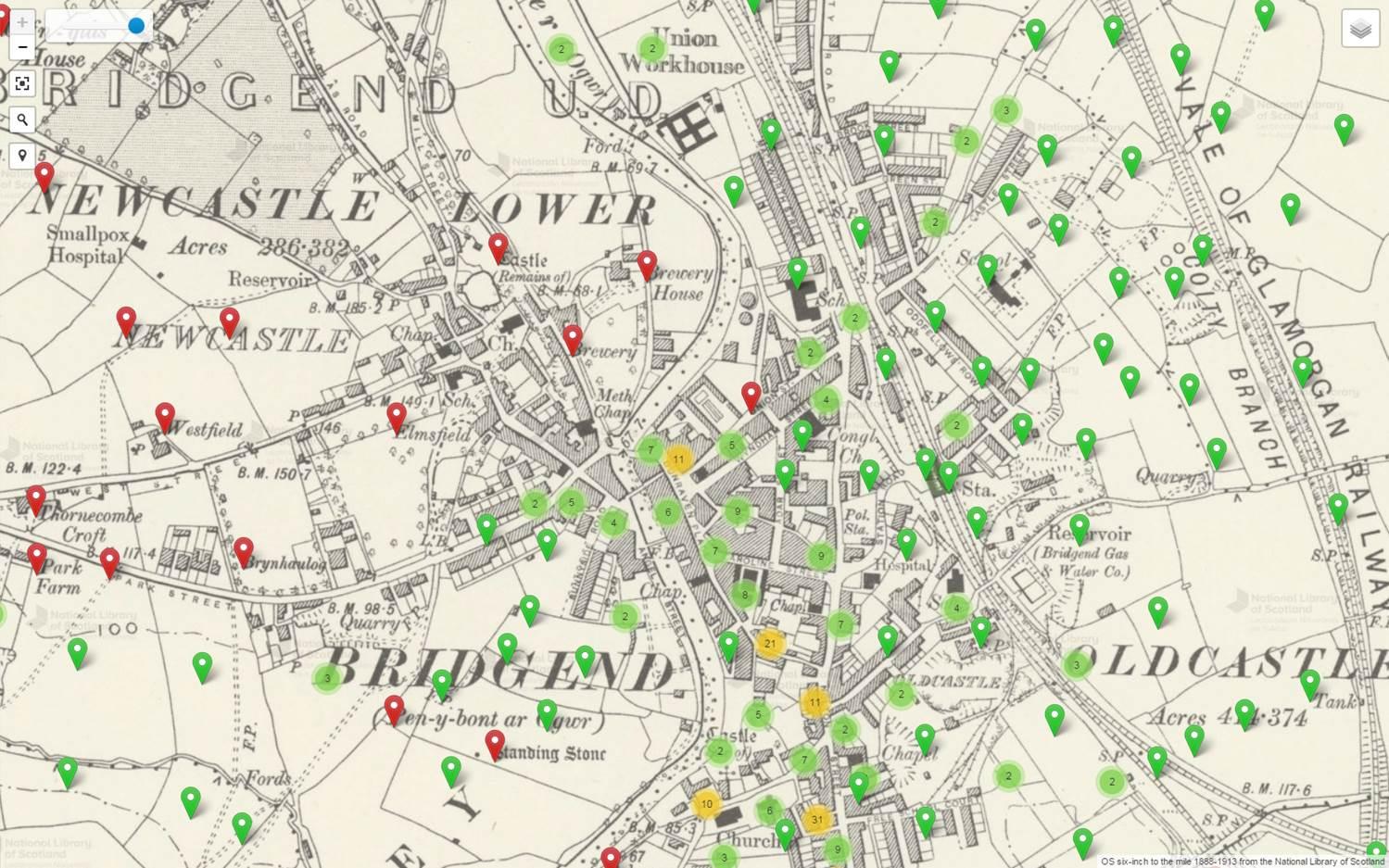 Map enghreifftiol o Ben-y-bont ar Ogwr yn dangos sut mae data am enwau lleoedd yn cael eu harddangos ar fapiau'r wefan