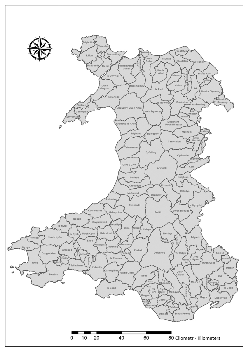 This map gives an approximate indication of the boundaries of the smaller commotes (cymydau) of Wales, as listed by Gruffudd Hiraethog (d.1564) in NLW Peniarth MS.147.