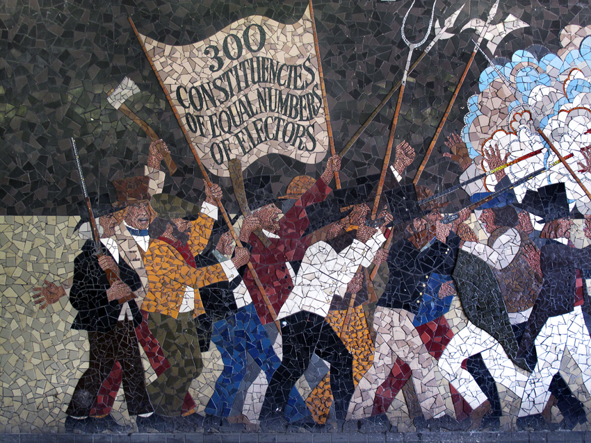 The Newport Chartist Uprising of 1839 as depicted by Kenneth Budd in a mural in John Frost Square, Newport, now demolished. This was the last major armed civil insurrection on the British mainland.
