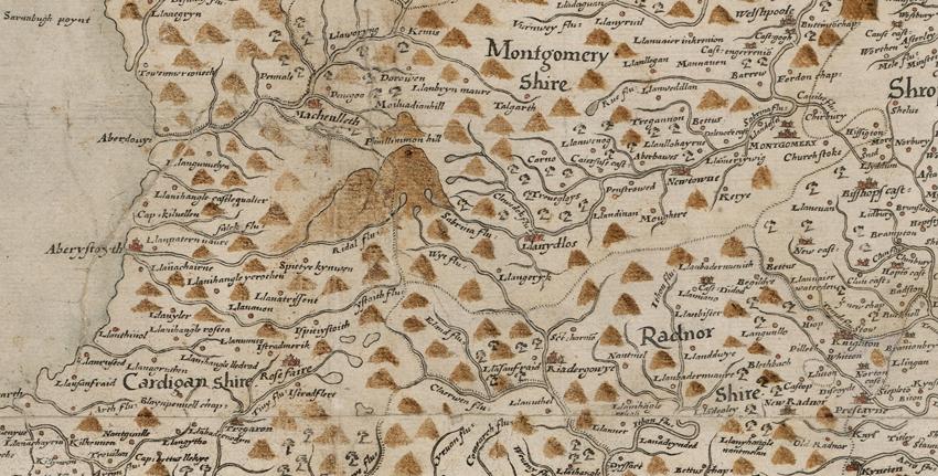 Manylyn o Fap Prawf Saxton o Gymru (1580) – Darluniadol