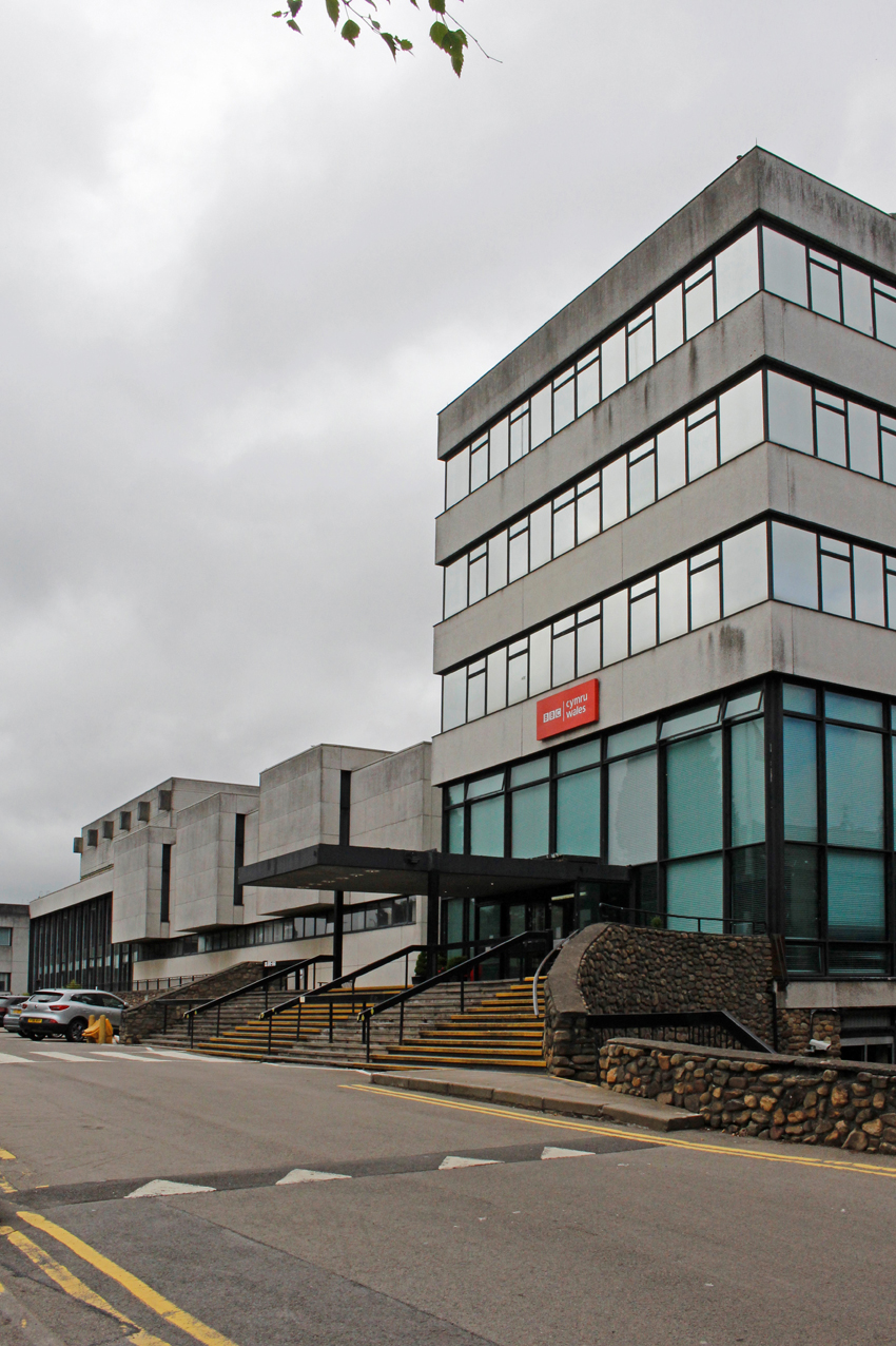 The Llantristant Road façade of BBC Broadcasting House, with the canopied entrance into the office block sitting to the right of the original sound studio.