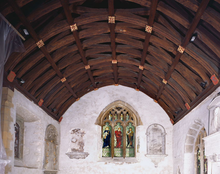 View of the chancel roof at St John the Baptist Church, Newton Nottage, Porthcawl: the church was largely rebuilt in the late 15th-early 16th centuries.