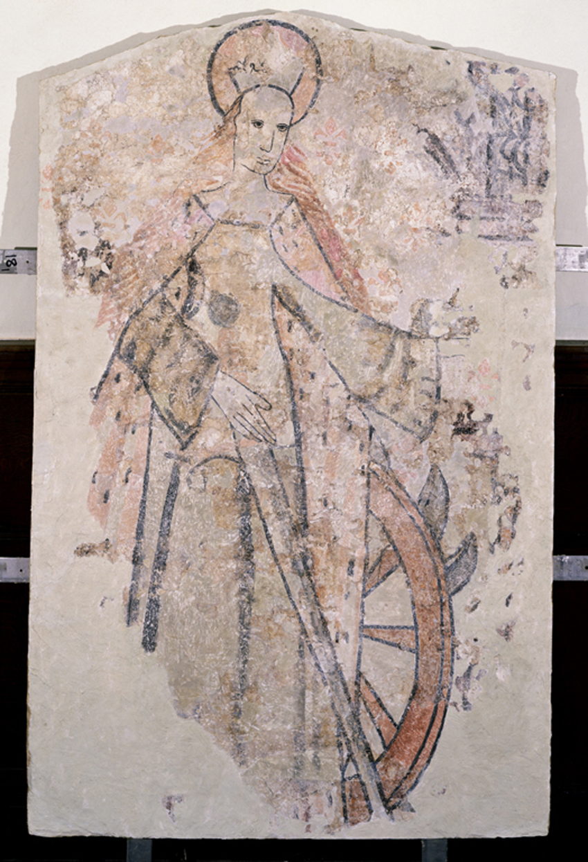 Wall painting of St Catherine at St Teilo's Church, Llandeilo Talybont; the 13th-century church has been rebuilt in the grounds of the National History Museum, St Fagans.