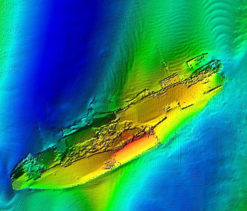 Golwg fanwl ar yr APAPA gan ddefnyddio atseinydd aml-belydr, sonar a ddefnyddir i fapio gwaelod y môr, hawlfraint Prifysgol Bangor.