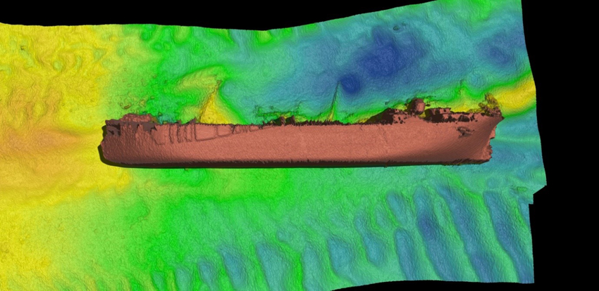 The Derbent's masts can be seen lying on the seabed in their approximate original locations © Bangor University.