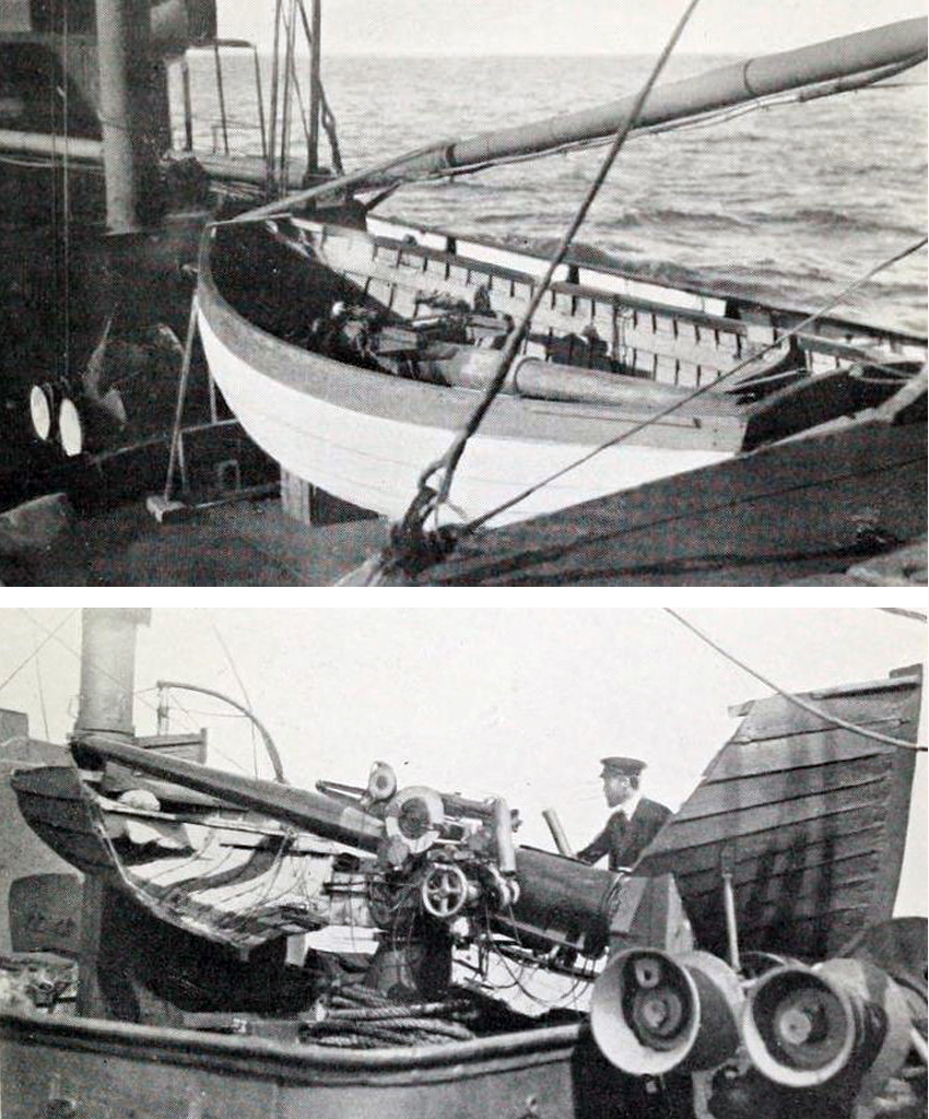 These two images show the ingenious method used to hide the 12 pounder gun ─ mounted on the main hatch – inside a dummy boat. The voice pipe from the bridge to the two aft guns was lashed to the derrick and thus hidden from the enemy.