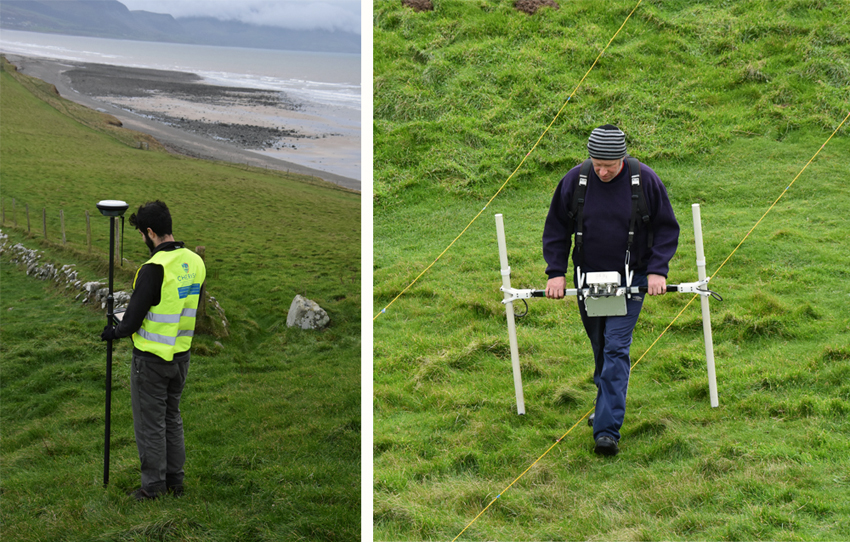 New survey in progress. Detailed survey using a global navigation satellite system and geophysical gradiometer survey which can detect archaeological features such as ditches and hearths to a depth of approximately 1 metre below the surface.