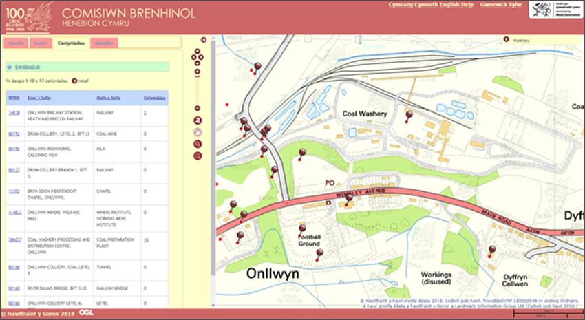 Map Coflein yn dangos Onllwyn.