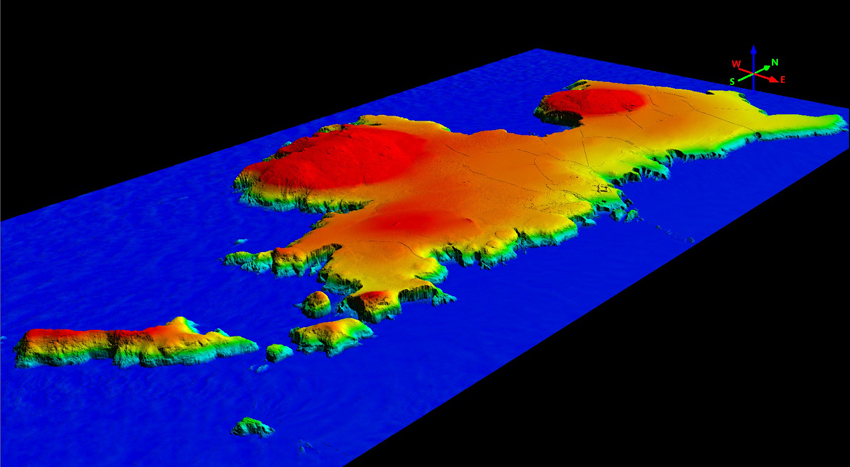 3D view of Ramsey Island from the south-east generated from the LiDAR. Colours differentiate height above sea level. (Crown CHERISH PROJECT 2017. Produced with EU funds through the Ireland Wales Co-opera