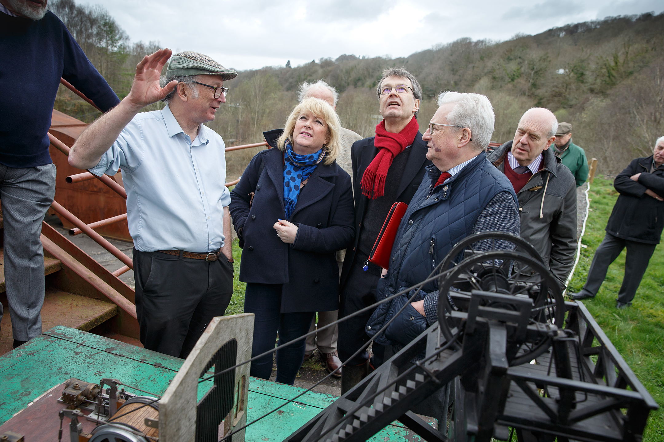 At Hetty Winding House Left to Right: Brian Davies, Great Western Colliery Preservation Trust; Susan Mason, CADW; Christopher Catling The Secretary (CEO), RCAHMW; Dafydd Elis-Thomas, Wales's Heritage Minister.