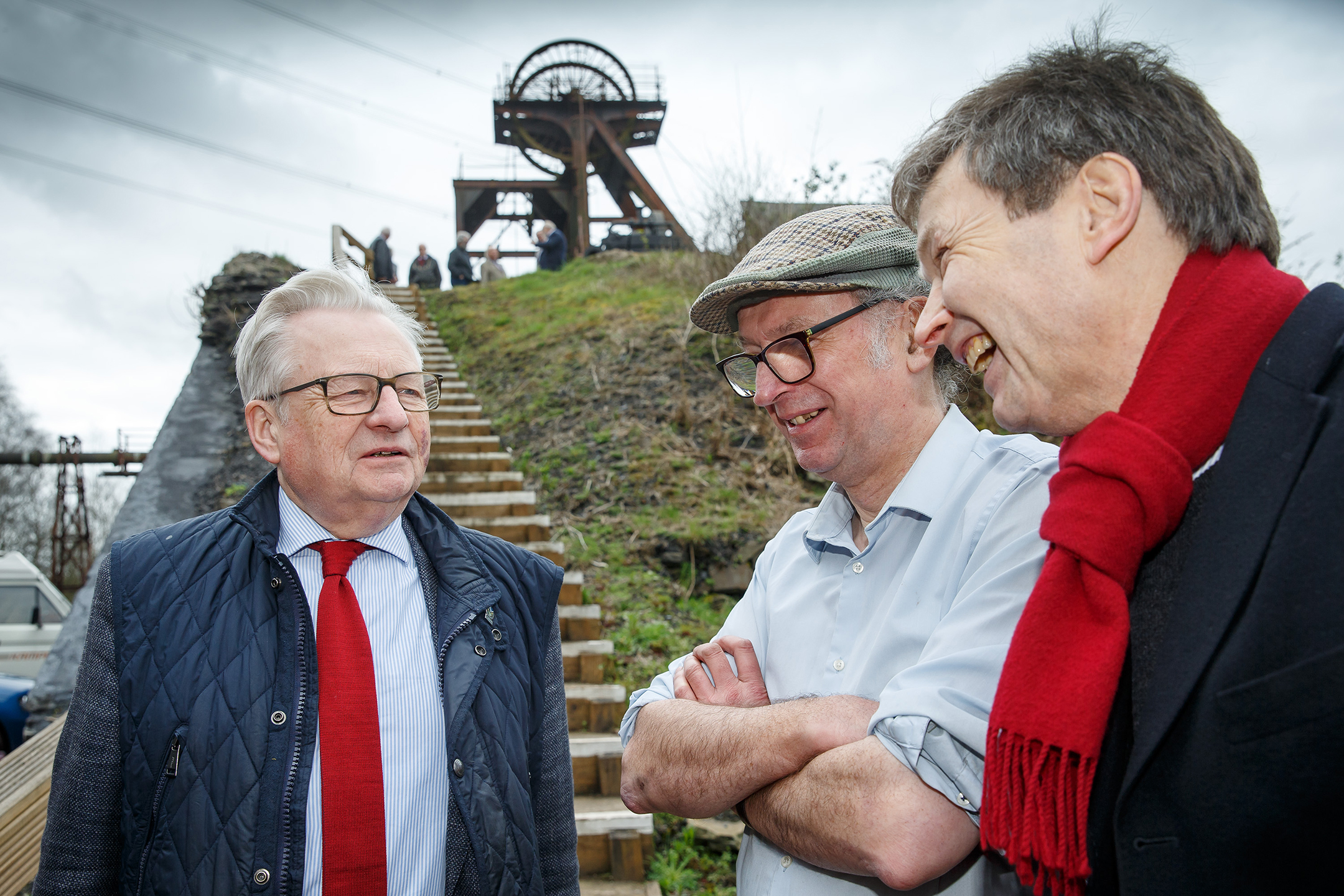 The Heritage Angel Awards Wales scheme was launched by Wales's Heritage Minister, Dafydd Elis-Thomas, during his visit to Hetty Winding House, near Pontypridd on 16 April 2018. Left to Right: Dafydd Elis-Thomas, Wales's Heritage Minister, Brian Davies, Great Western Colliery Preservation Trust, and Christopher Catling The Secretary (CEO), RCAHMW.