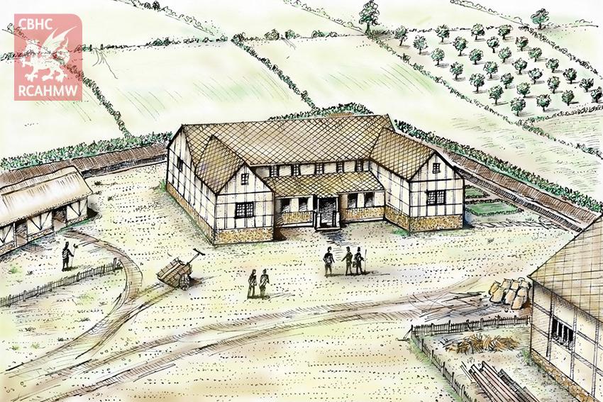 Reconstruction drawing of Abermagwr Roman Villa NPRN: 405315 DI2011_0038c C.549520