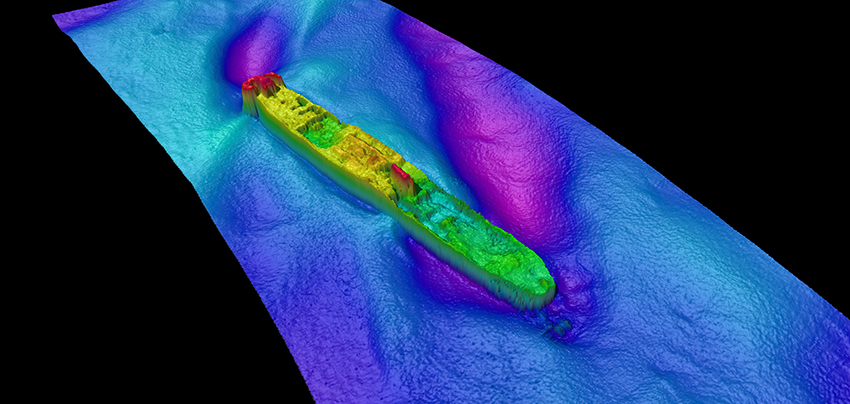 This multibeam sonar image of the CORK was gathered by Bangor University and suggests that parts of the decks have collapsed.