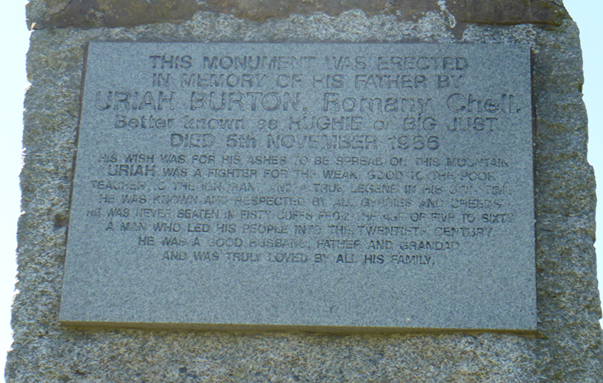Memorial inscription to Uriah Burton, son of Ernest, who died 5th November, 1986.
