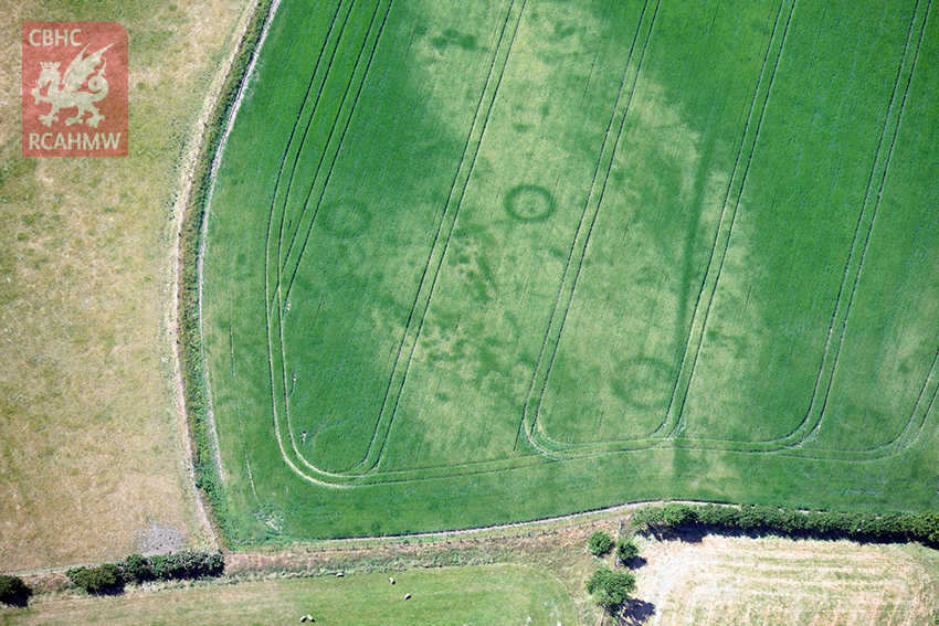2 – Cropmarks of a large Bronze Age barrow cemetery on the Llyn Peninsula, Gwynedd (Crown Copyright RCAHMW)