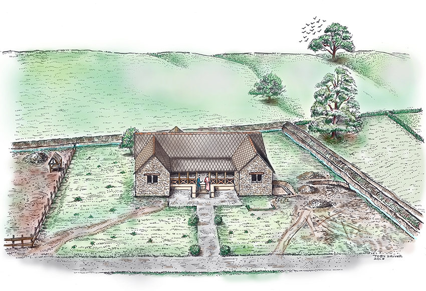 1 – Abermagwr Roman villa. Reconstruction of the house or domus by Toby Driver showing a simple garden and gravelled path surrounding the villa, and the wider villa enclosure which probably served as a yard for livestock.
