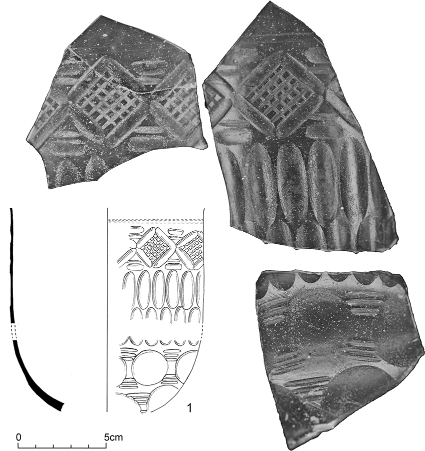2 – Abermagwr. Roman cut-glass vessel or bowl. Photographs of some of the surviving fragments of the spectacular cut-glass vessel, with an inset showing a reconstruction drawing of the bowl by Yvonne Beadnell (Crown Copyright RCAHMW).