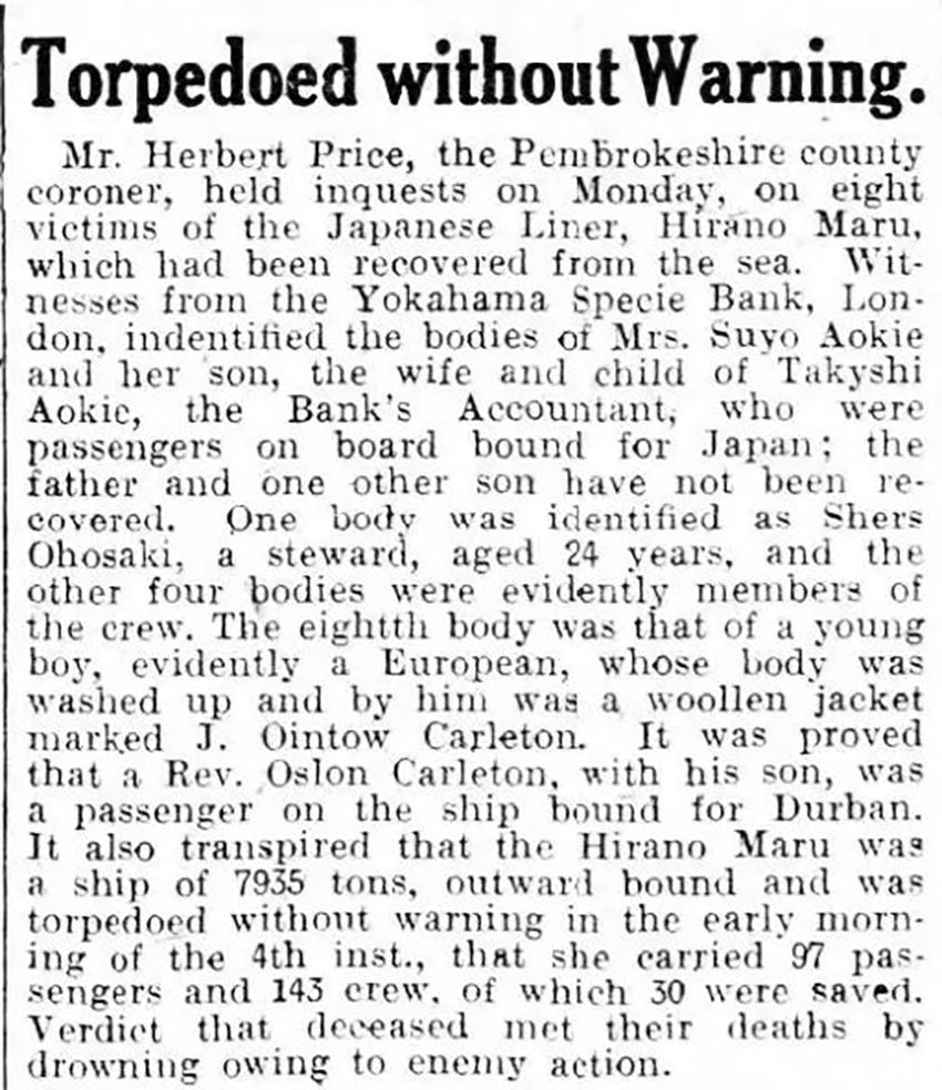 Adroddiad ar y cwestau i farwolaethau criw a theithwyr yr HIRANO MARU a gynhaliwyd yn Hwlffordd, o'r Miford Haven Telegraph, 16 Hydref 1918. Ffynhonnell: Papurau Newydd Cymru Arlein.