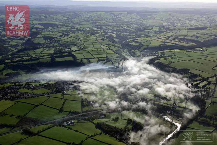 Llandysul in fog. The fog was still clearing from Llandysul, Ceredigion, in the morning as the aircraft routed north.
