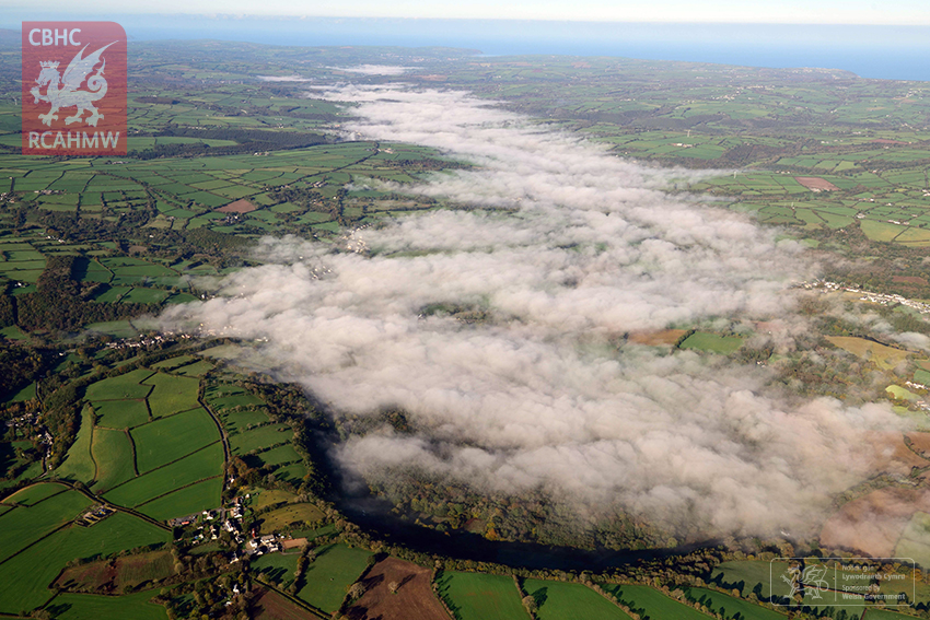 Teifi Fog. The scene of much flooding during Storm Callum, this view shows the fog-filled Teifi Valley from Drefach in the left foreground to Newcastle Emlyn in the middle distance, looking west to Cardigan.