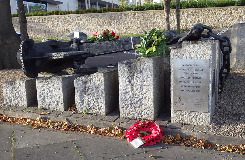 The anchor from the RMS LEINSTER has been installed as a memorial at Dún Laoghaire.