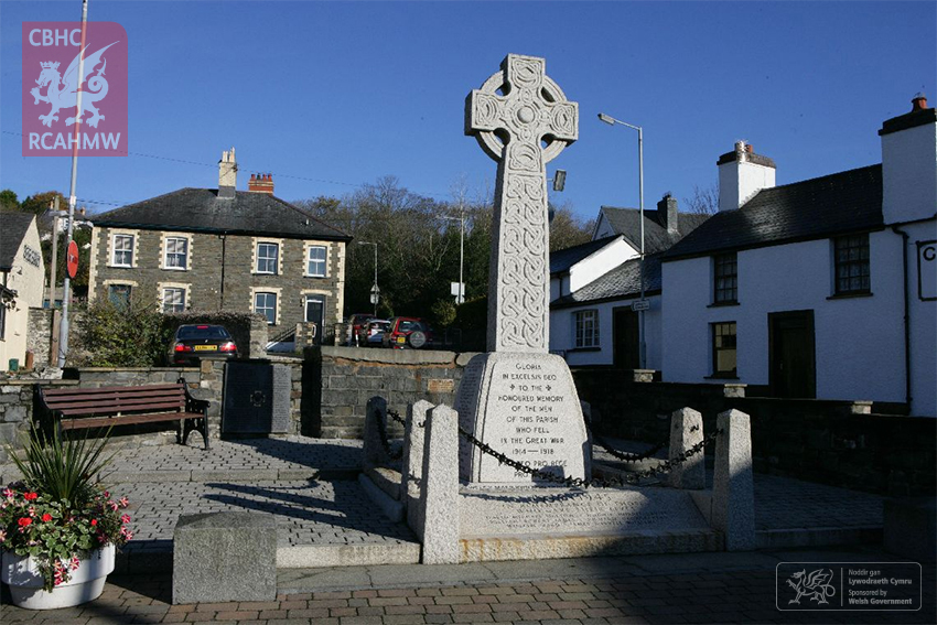 Many war memorials are located at the very centre of their respective communities, such as this one in Llanbadarn Fawr (NPRN 32631) which has an inscription in Latin, Welsh and English.