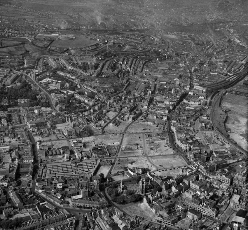 Aerial photograph showing wartime damage in central Swansea. AFR10857 NPRN 33145