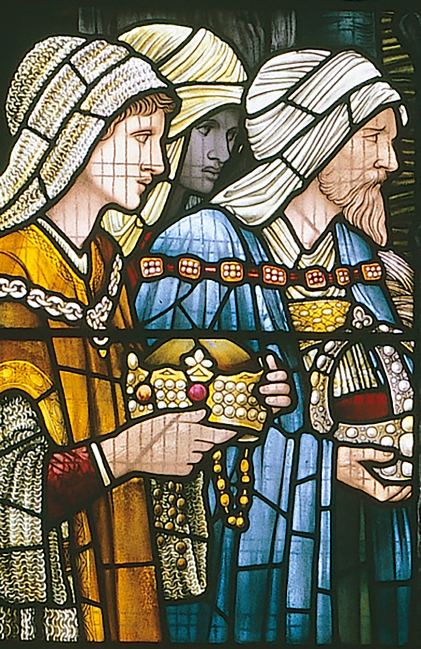 Detail of the window, showing the Magi bringing gifts of gold, frankincense and myrrh. DI2005_0594, NPRN 310514
